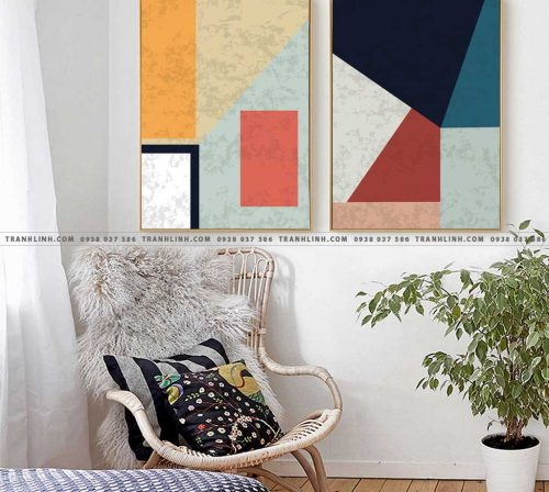Bo tranh Canvas treo tuong trang tri phong khach truu tuong TT0230