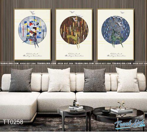 Bo tranh Canvas treo tuong trang tri phong khach truu tuong TT0258