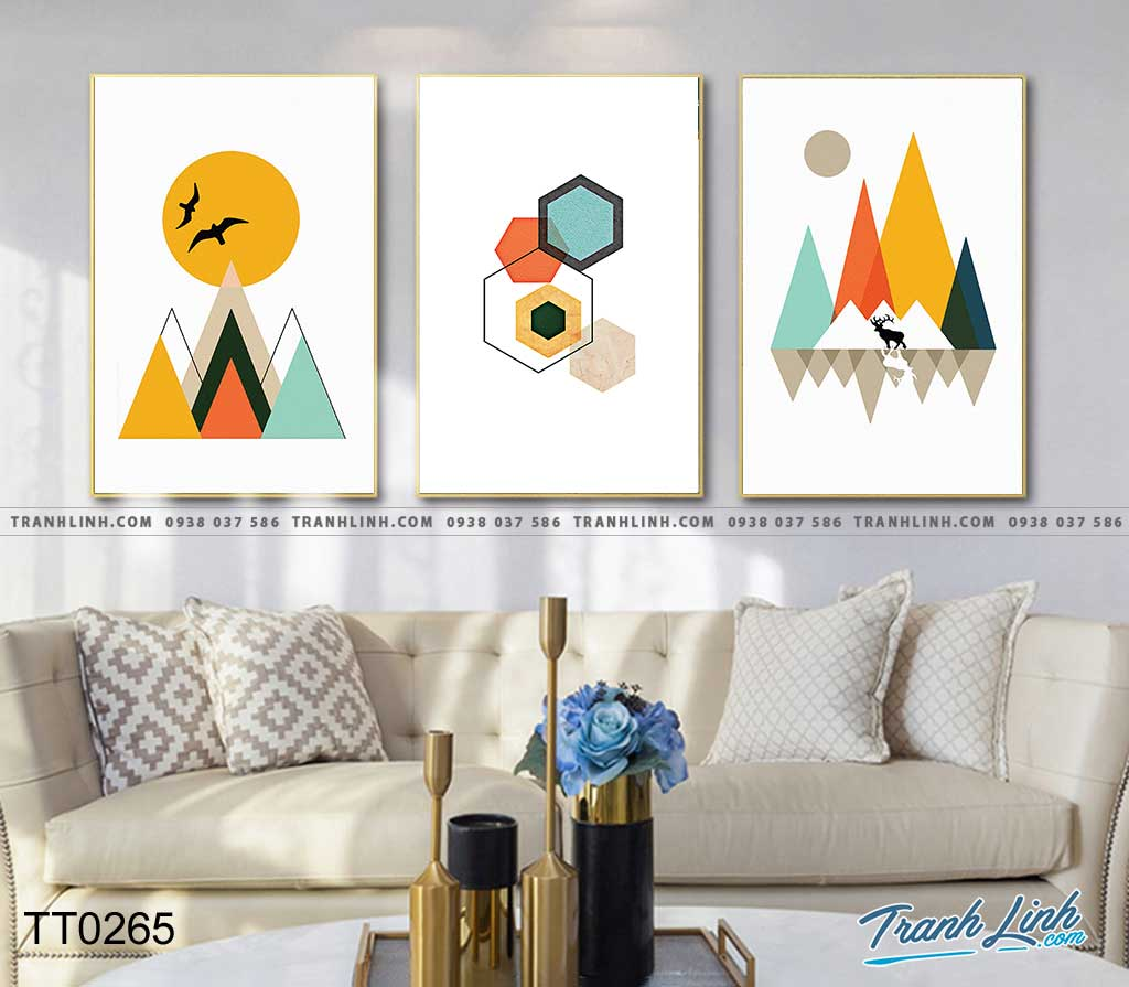 Bo tranh Canvas treo tuong trang tri phong khach truu tuong TT0265
