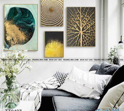 Bo tranh Canvas treo tuong trang tri phong khach truu tuong TT0407