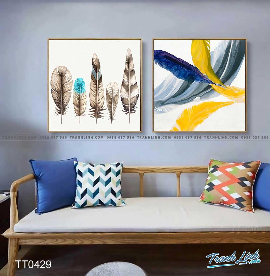 Bo tranh Canvas treo tuong trang tri phong khach truu tuong TT0429