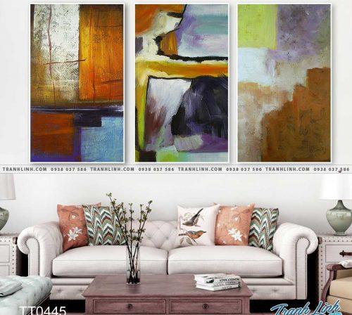 Bo tranh Canvas treo tuong trang tri phong khach truu tuong TT0445