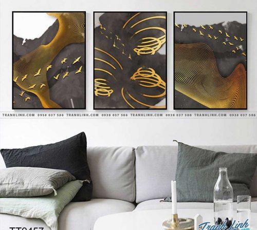 Bo tranh Canvas treo tuong trang tri phong khach truu tuong TT0457