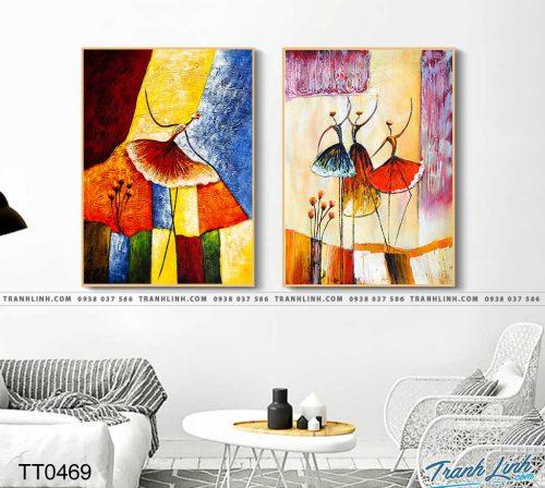 Bo tranh Canvas treo tuong trang tri phong khach truu tuong TT0469