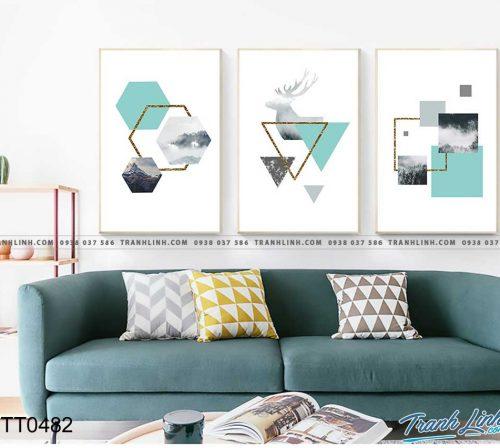 Bo tranh Canvas treo tuong trang tri phong khach truu tuong TT0482