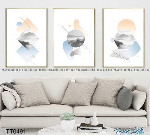 Bo tranh Canvas treo tuong trang tri phong khach truu tuong TT0491