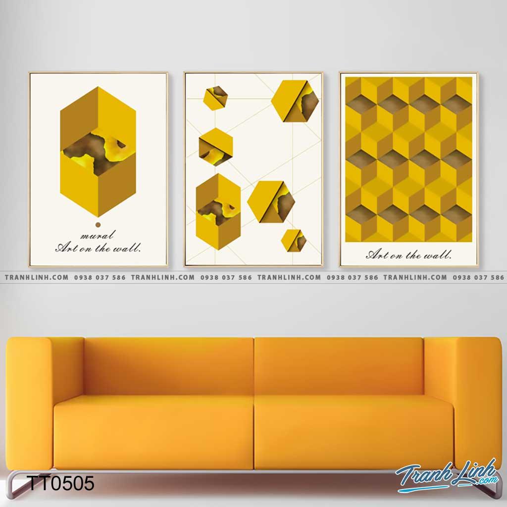 Bo tranh Canvas treo tuong trang tri phong khach truu tuong TT0505