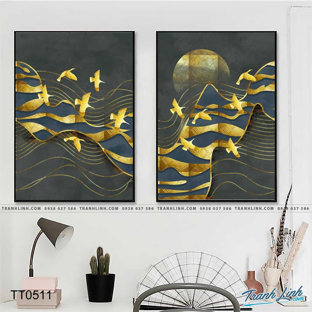 Bo tranh Canvas treo tuong trang tri phong khach truu tuong TT0511