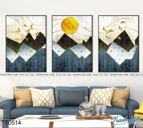Bo tranh Canvas treo tuong trang tri phong khach truu tuong TT0514