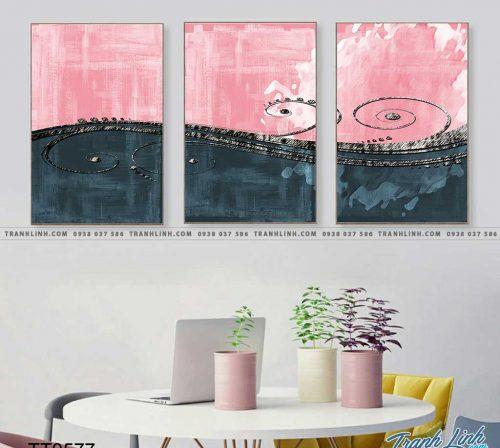 Bo tranh Canvas treo tuong trang tri phong khach truu tuong TT0577
