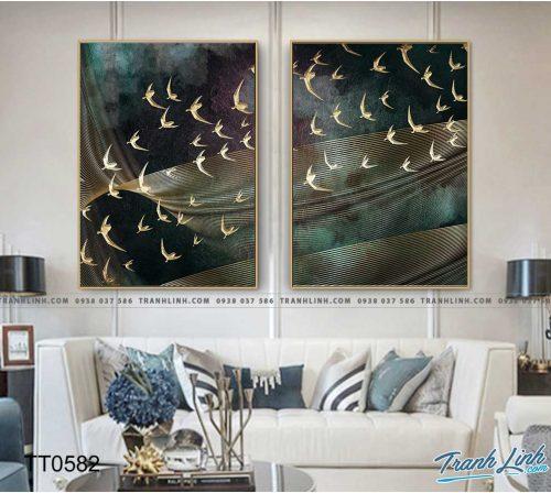 Bo tranh Canvas treo tuong trang tri phong khach truu tuong TT0582