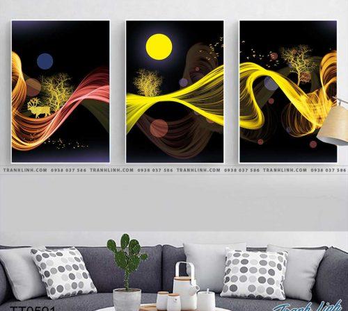 Bo tranh Canvas treo tuong trang tri phong khach truu tuong TT0591