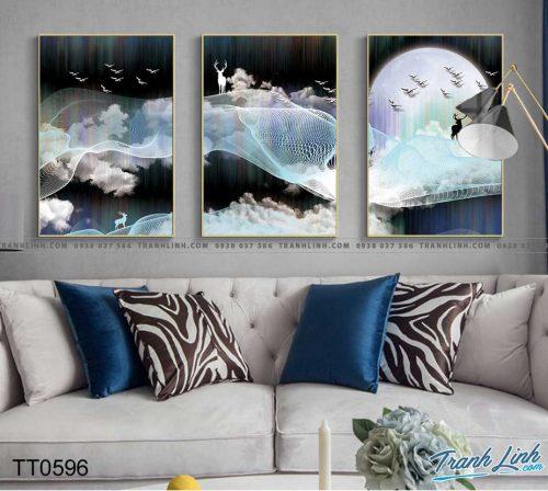 Bo tranh Canvas treo tuong trang tri phong khach truu tuong TT0596