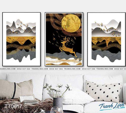 Bo tranh Canvas treo tuong trang tri phong khach truu tuong TT0617