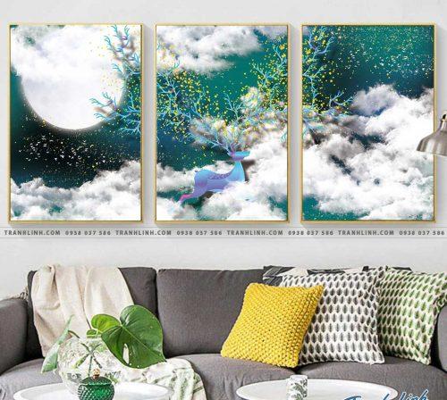 Bo tranh Canvas treo tuong trang tri phong khach truu tuong TT0620