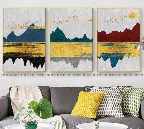 Bo tranh Canvas treo tuong trang tri phong khach truu tuong TT0624