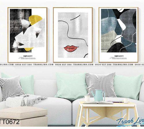 Bo tranh Canvas treo tuong trang tri phong khach truu tuong TT0672