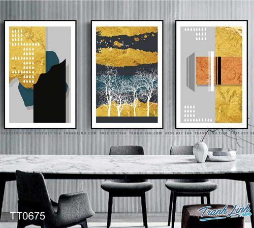 Bo tranh Canvas treo tuong trang tri phong khach truu tuong TT0675