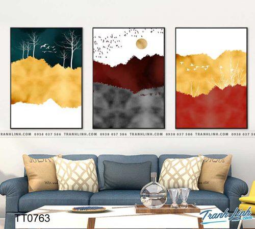 Bo tranh Canvas treo tuong trang tri phong khach truu tuong TT0763