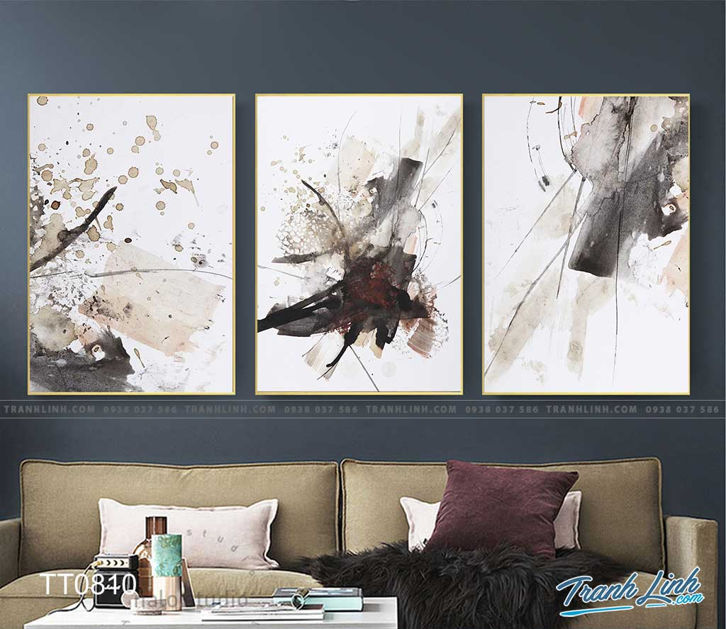Bo tranh Canvas treo tuong trang tri phong khach truu tuong TT0810