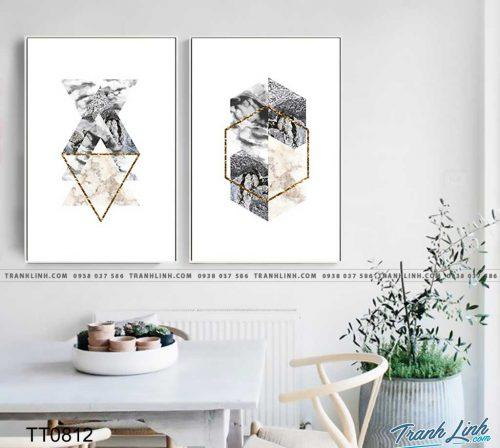 Bo tranh Canvas treo tuong trang tri phong khach truu tuong TT0812