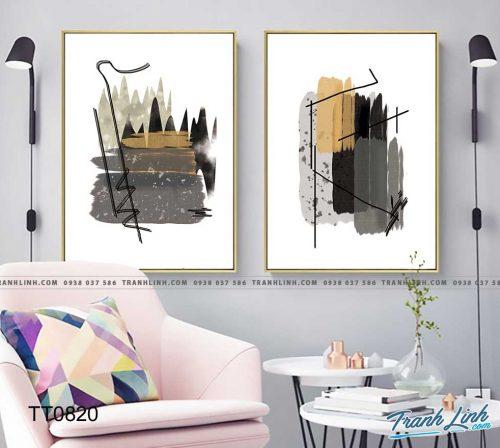 Bo tranh Canvas treo tuong trang tri phong khach truu tuong TT0820