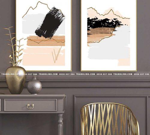 Bo tranh Canvas treo tuong trang tri phong khach truu tuong TT0840