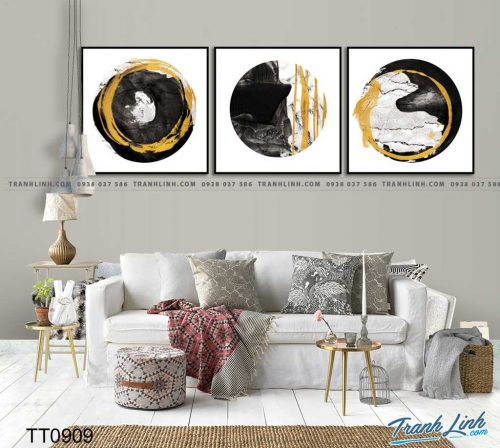 Bo tranh Canvas treo tuong trang tri phong khach truu tuong TT0909