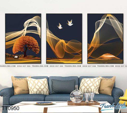 Bo tranh Canvas treo tuong trang tri phong khach truu tuong TT0950