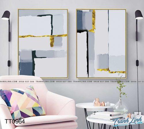 Bo tranh Canvas treo tuong trang tri phong khach truu tuong TT0964