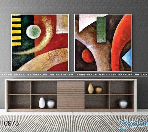 Bo tranh Canvas treo tuong trang tri phong khach truu tuong TT0973