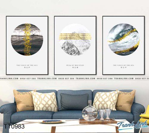 Bo tranh Canvas treo tuong trang tri phong khach truu tuong TT0983