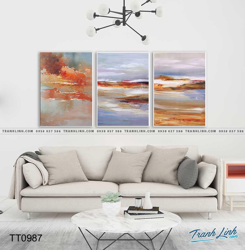 Bo tranh Canvas treo tuong trang tri phong khach truu tuong TT0987