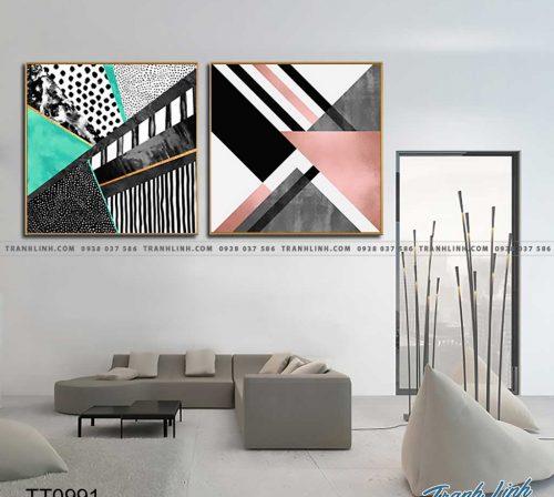 Bo tranh Canvas treo tuong trang tri phong khach truu tuong TT0991