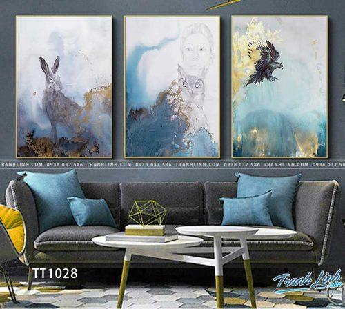Bo tranh Canvas treo tuong trang tri phong khach truu tuong TT1028
