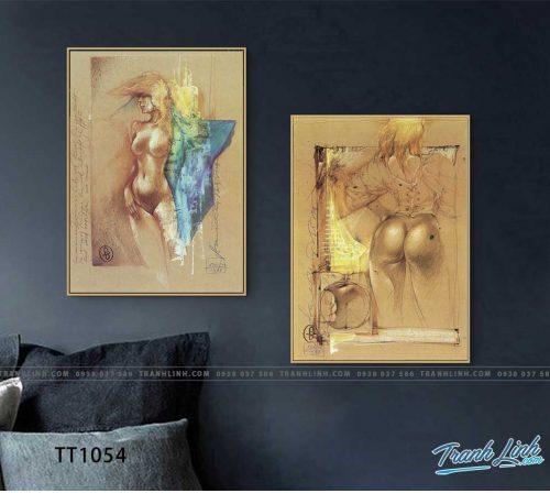 Bo tranh Canvas treo tuong trang tri phong khach truu tuong TT1054