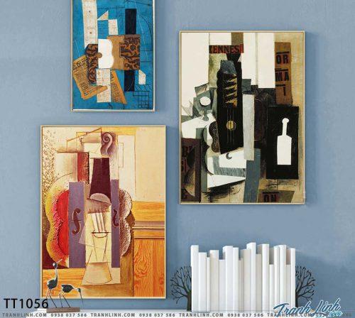 Bo tranh Canvas treo tuong trang tri phong khach truu tuong TT1056