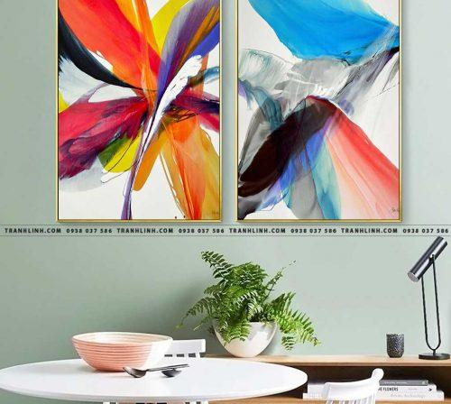 Bo tranh Canvas treo tuong trang tri phong khach truu tuong TT1089