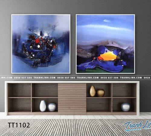 Bo tranh Canvas treo tuong trang tri phong khach truu tuong TT1102