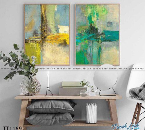 Bo tranh Canvas treo tuong trang tri phong khach truu tuong TT1169