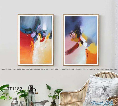 Bo tranh Canvas treo tuong trang tri phong khach truu tuong TT1182