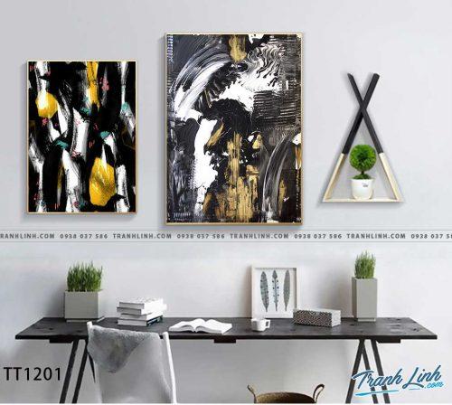 Bo tranh Canvas treo tuong trang tri phong khach truu tuong TT1201