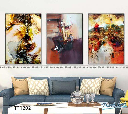 Bo tranh Canvas treo tuong trang tri phong khach truu tuong TT1202