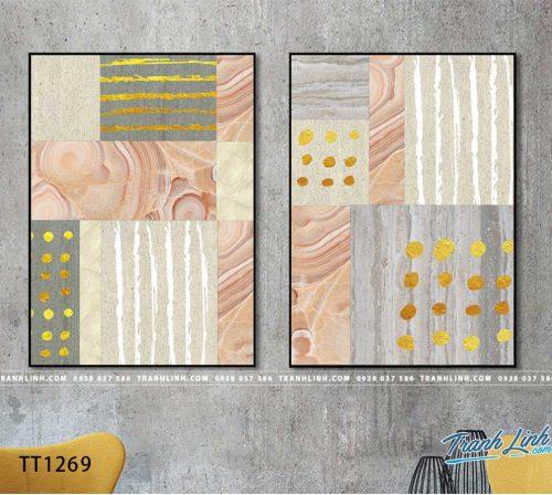 Bo tranh Canvas treo tuong trang tri phong khach truu tuong TT1269