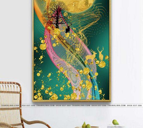 Bo tranh Canvas treo tuong trang tri phong khach truu tuong TT1357