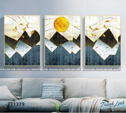 Bo tranh Canvas treo tuong trang tri phong khach truu tuong TT1379