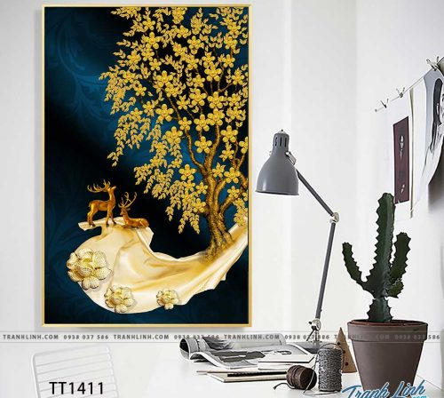 Bo tranh Canvas treo tuong trang tri phong khach truu tuong TT1411