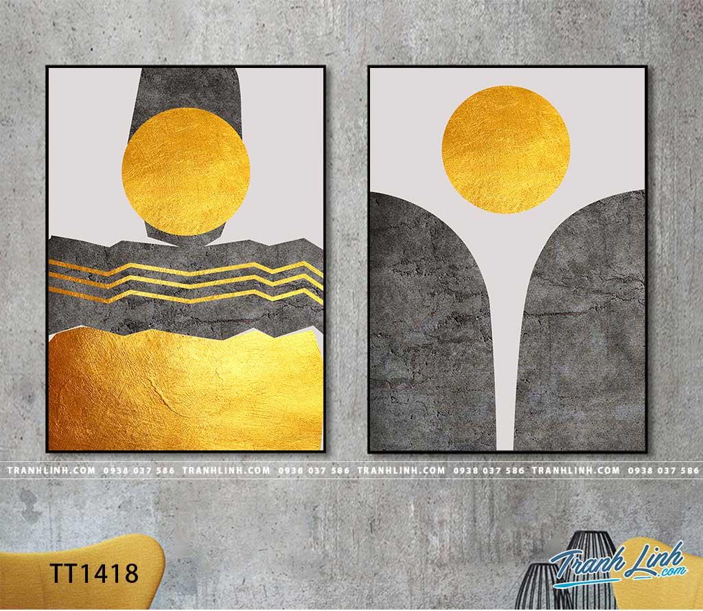 Bo tranh Canvas treo tuong trang tri phong khach truu tuong TT1418