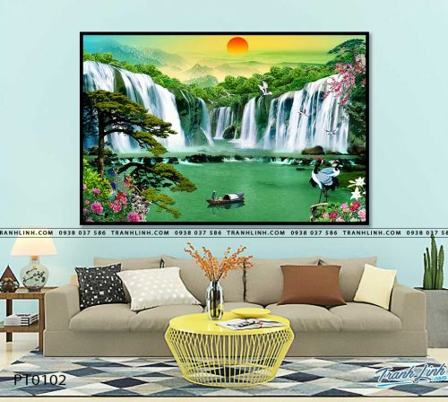 tranh in canvas phong canh phong thuy pt0102