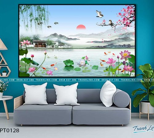 tranh in canvas phong canh phong thuy pt0128